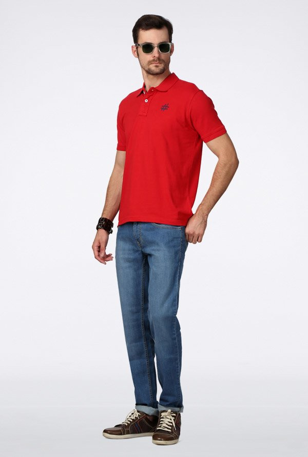 People Red Solid Polo T Shirt