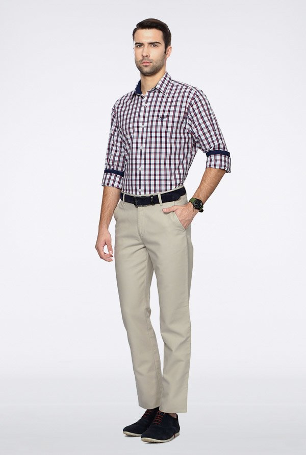 University Of Oxford White Checks Casual Shirt