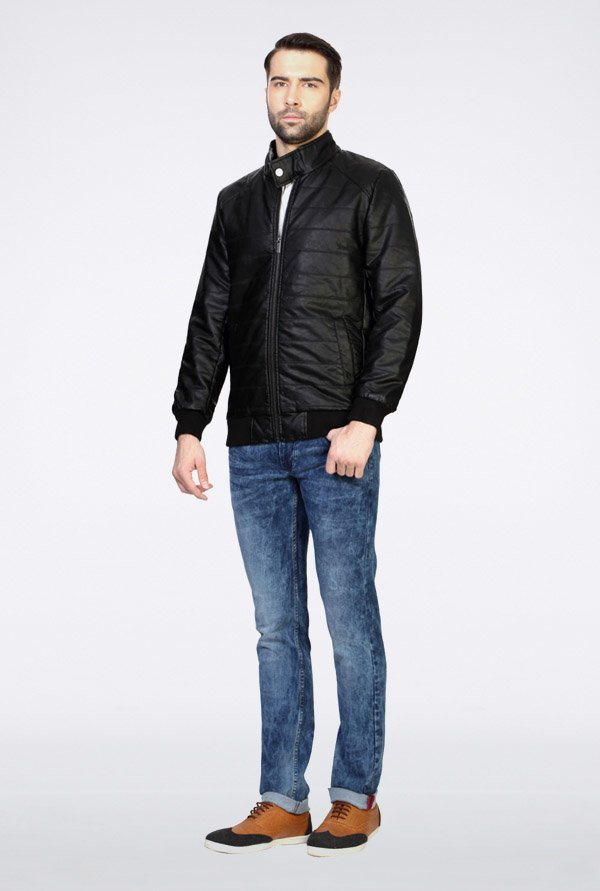 Van Heusen Black Solid Jacket