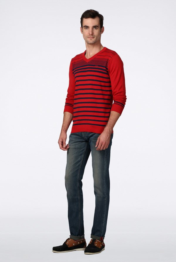 Van Heusen Red Striped Sweater