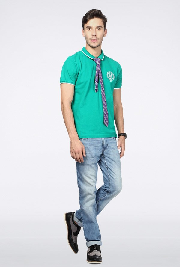 University Of Oxford Turquoise Solid Polo T Shirt