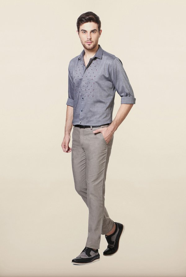 Van Heusen Grey Embroidered Casual Shirt