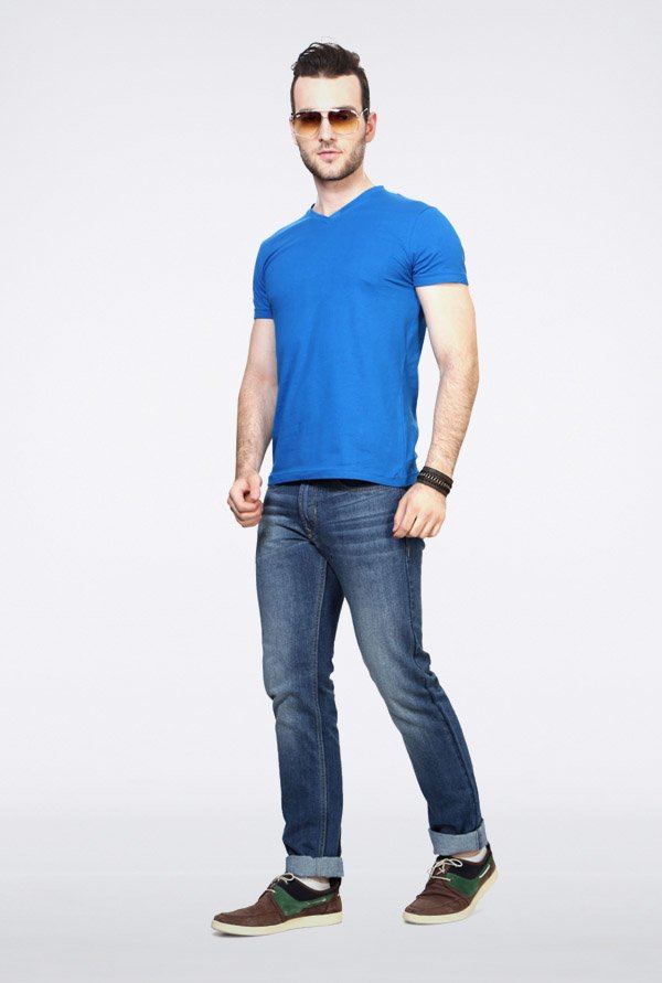 People Blue Solid V-Neck T Shirt