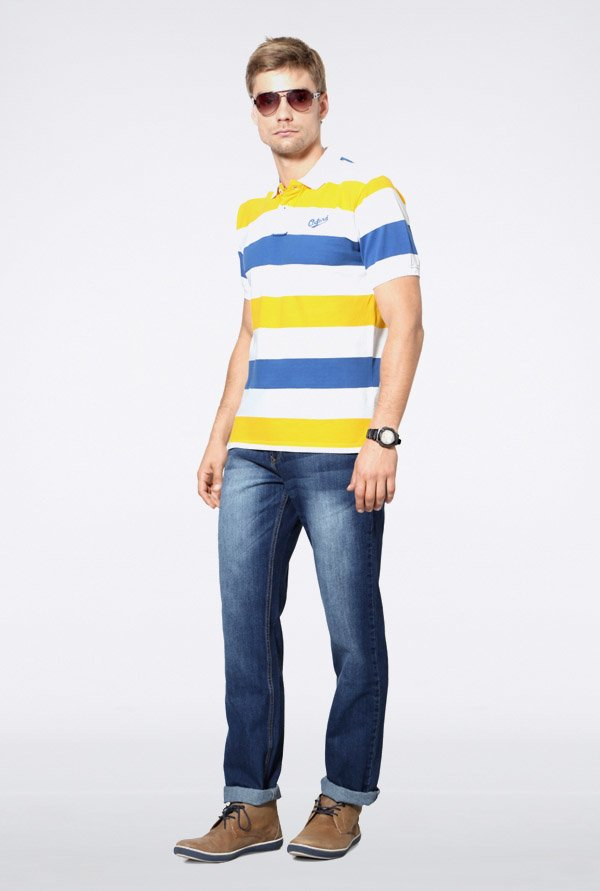 University Of Oxford Multicolor Striped Polo T Shirt