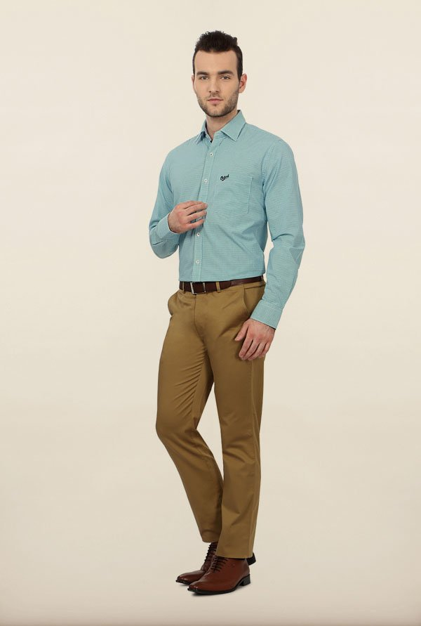 University of Oxford Turquoise Checks Formal Shirt