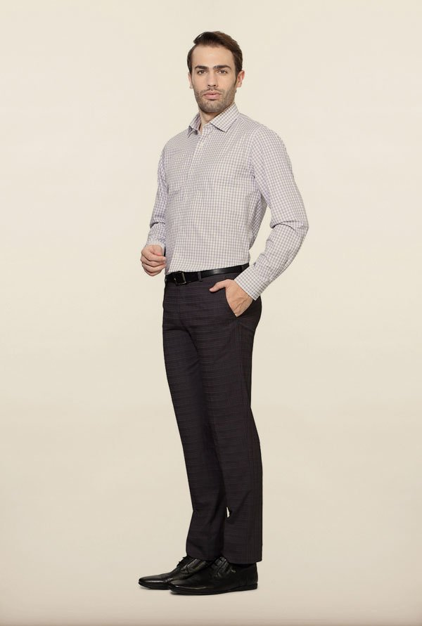 Van Heusen White Checks Formal Shirt