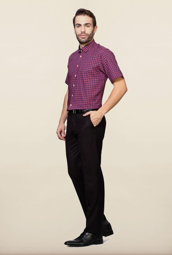 Van Heusen Pink & Navy Checks Formal Shirt