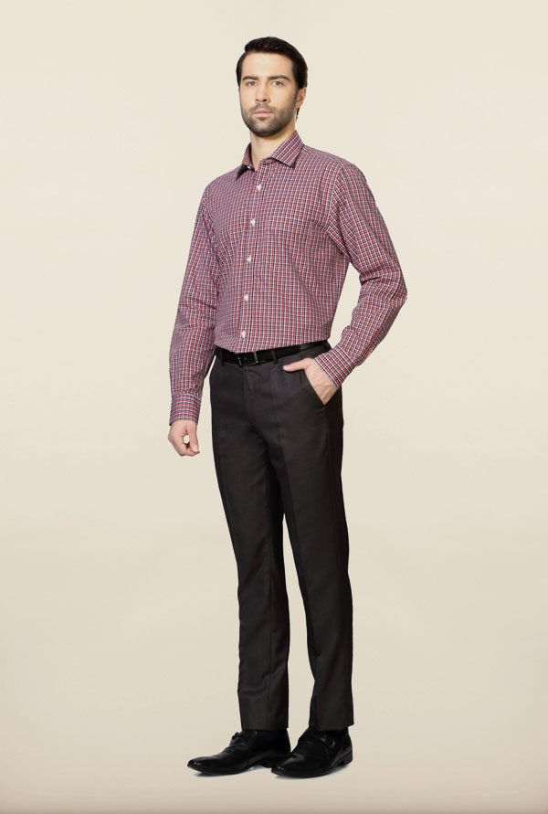 Peter England Red Checks Formal Shirt