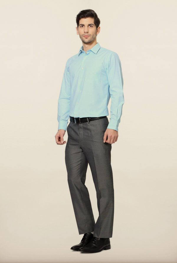 Peter England Sky Blue Self Print Formal Shirt