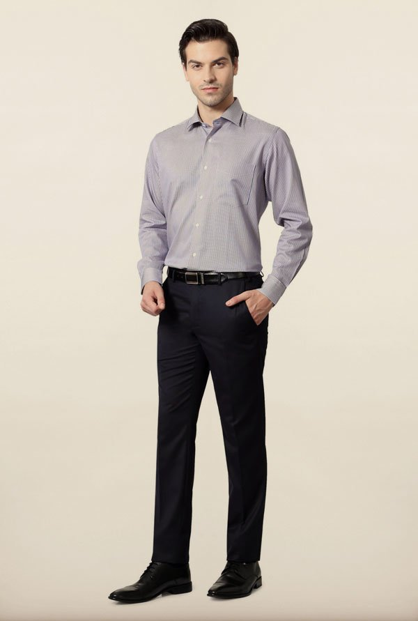 Van Heusen Blue Striped Cotton Formal Shirt
