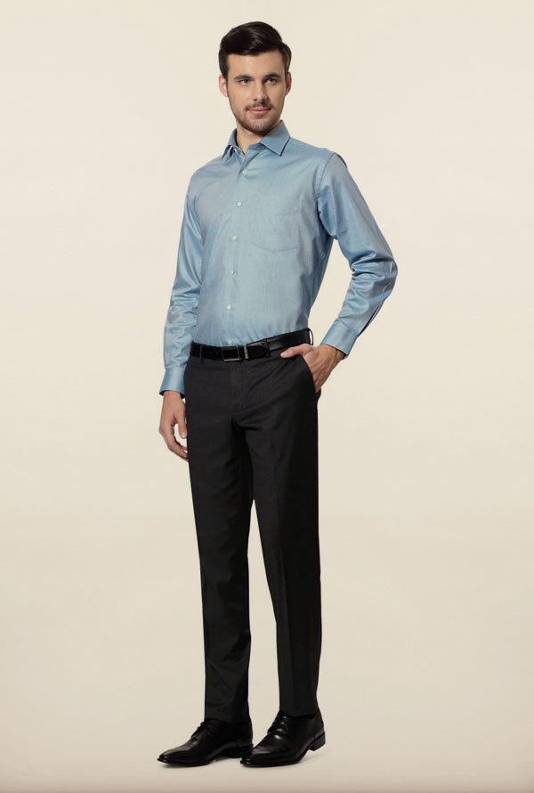 Van Heusen Blue Jacquard Formal Shirt