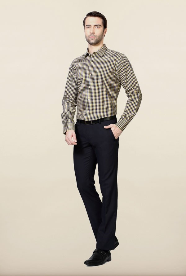 Peter England Blue & Yellow Checks Formal Shirt