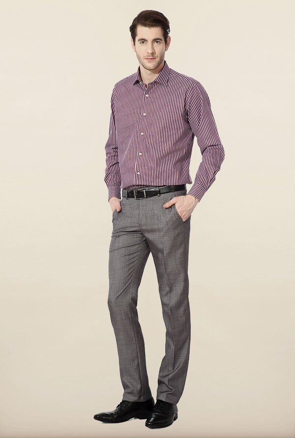Van Heusen Purple Striped Formal Shirt