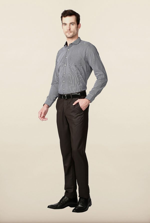 Van Heusen Grey Striped Formal Shirt