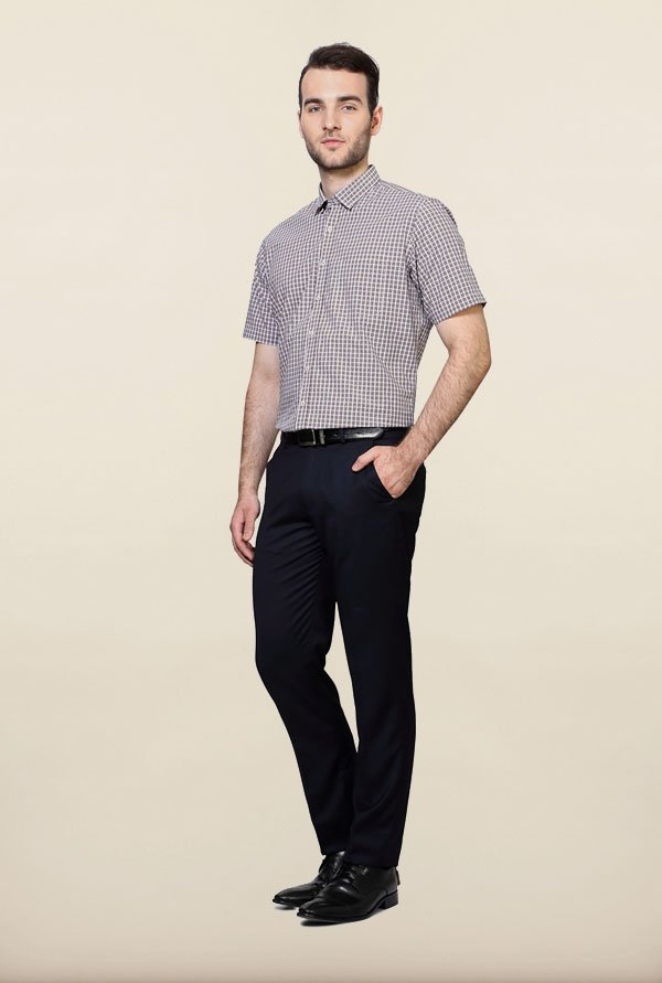 Van Heusen Brown Checks Formal Shirt