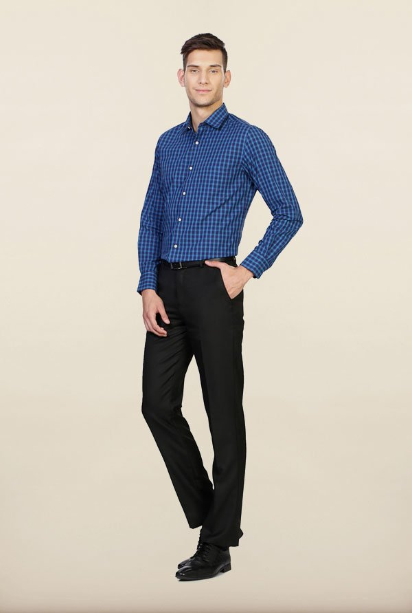 Peter England Blue Checks Formal Shirt