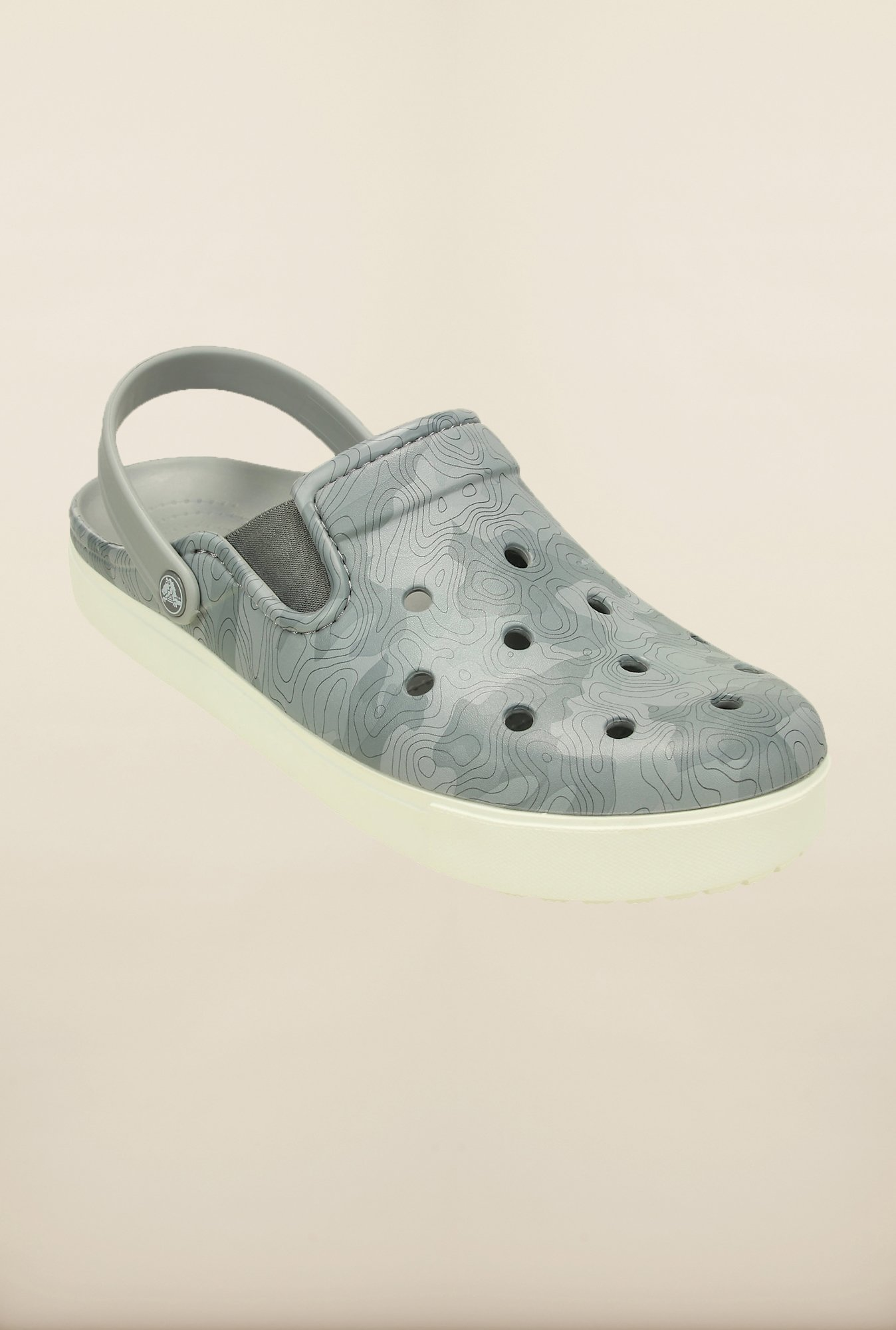 Crocs CitiLane Topographical Light Grey & White Clogs