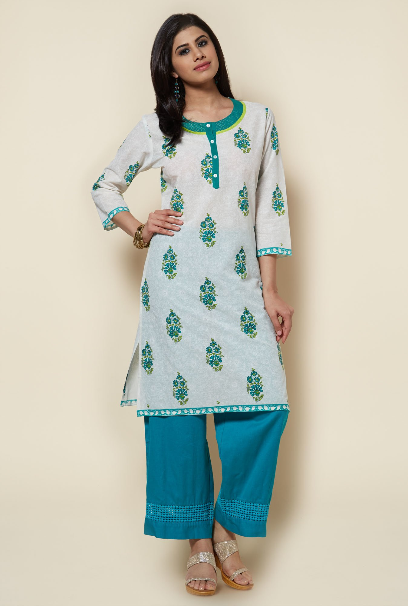 Zudio White Printed Cotton Kurti