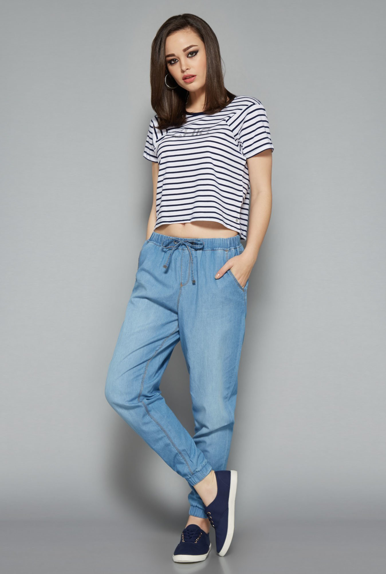 Nuon Navy & White Striped Top