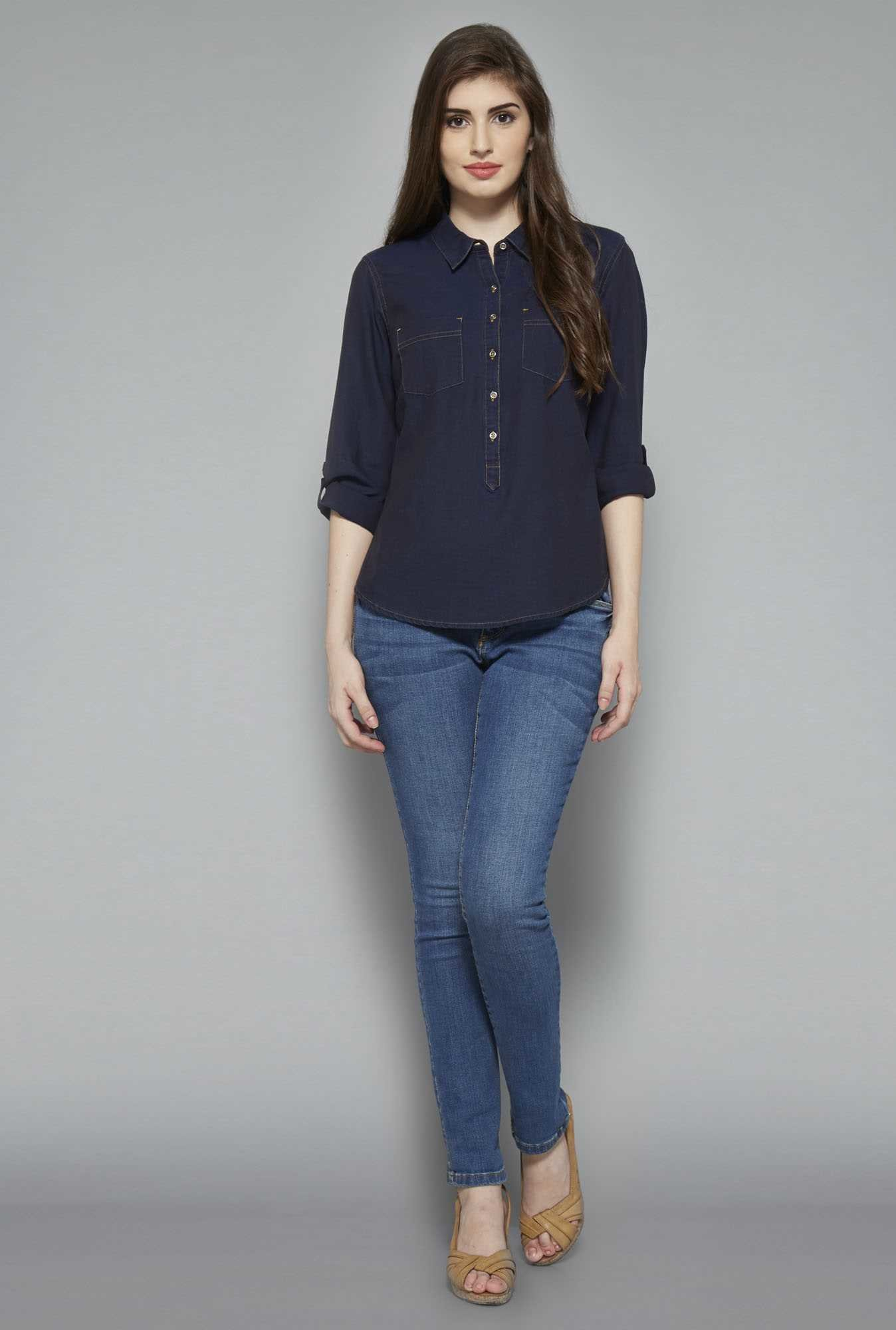 LOV Dark Blue Tanya Blouse