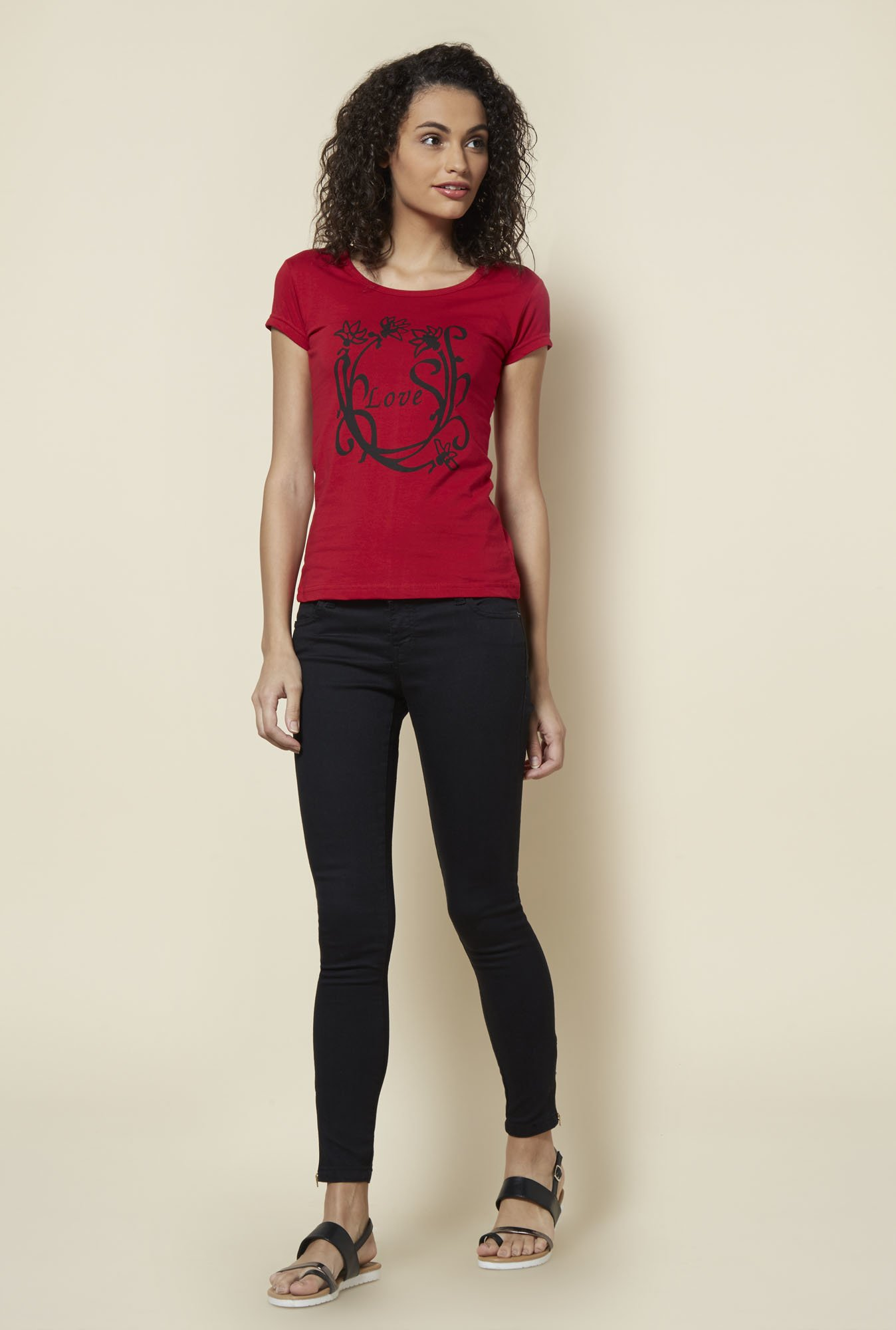 Zudio Red Printed T Shirt