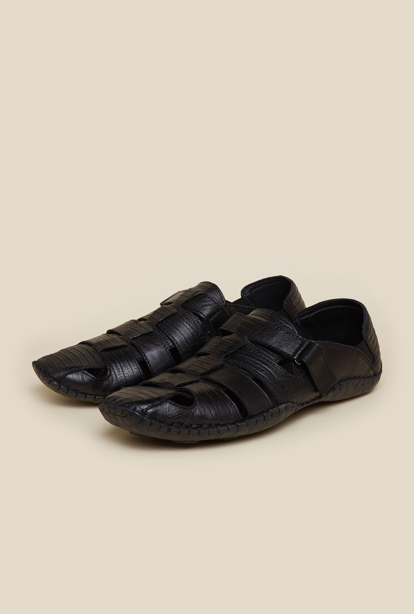 J. Fontini by Mochi Black Leather Fisherman Sandals