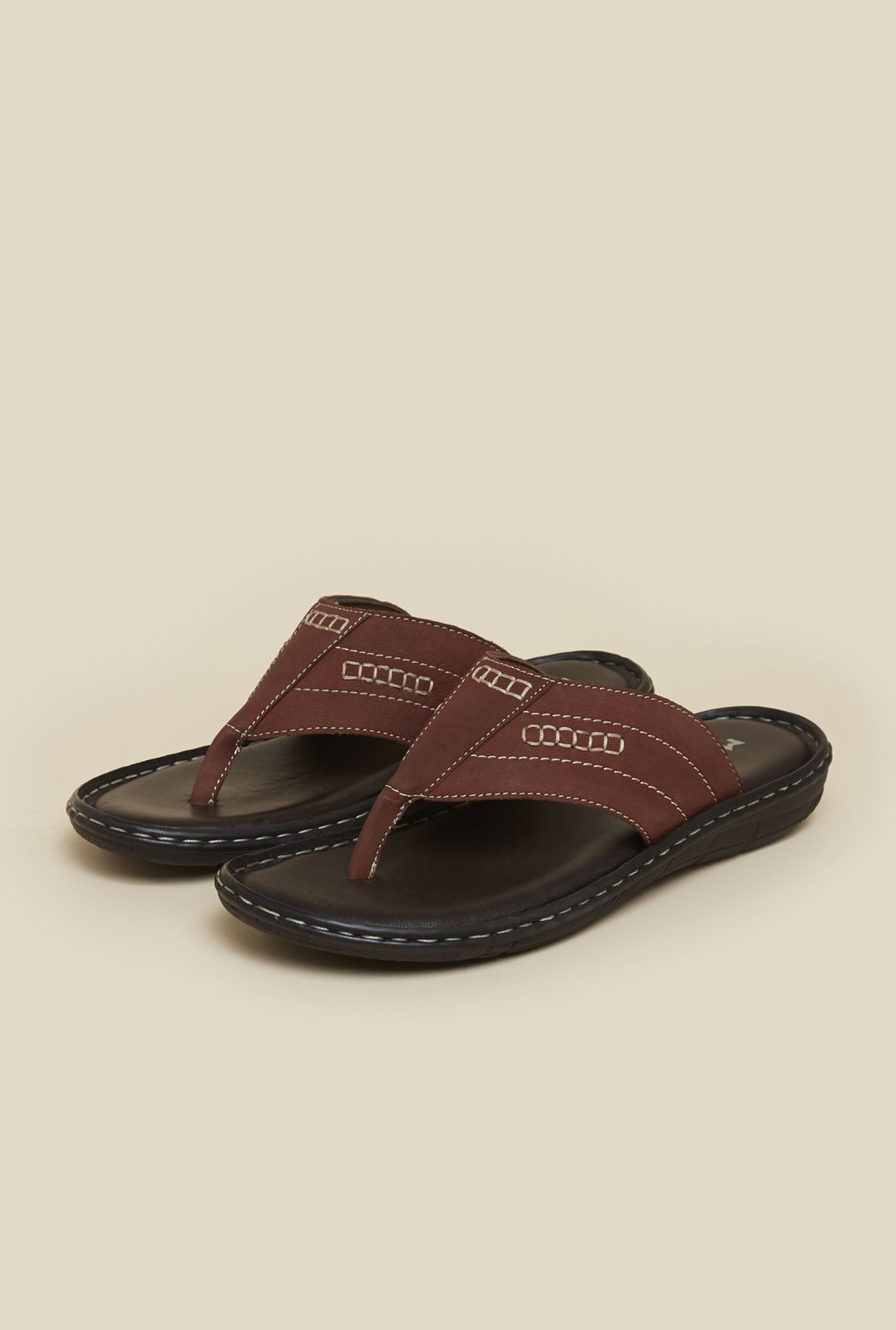 Mochi Brown Leather Thong Sandals