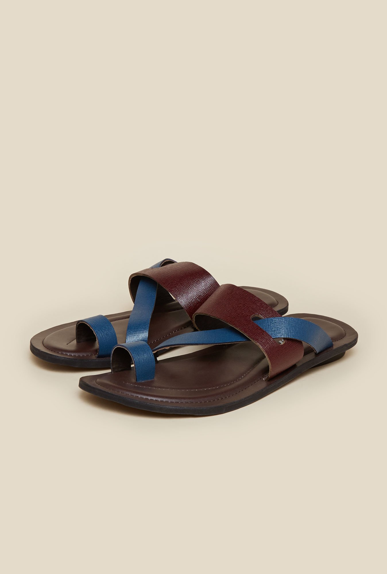 Mochi Maroon & Blue Leather Casual Sandals