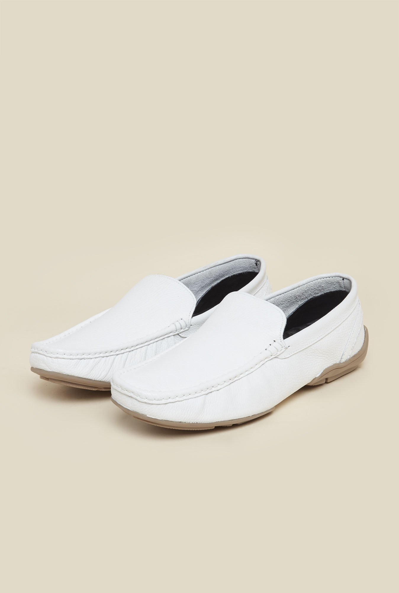 Mochi White Leather Formal Loafers