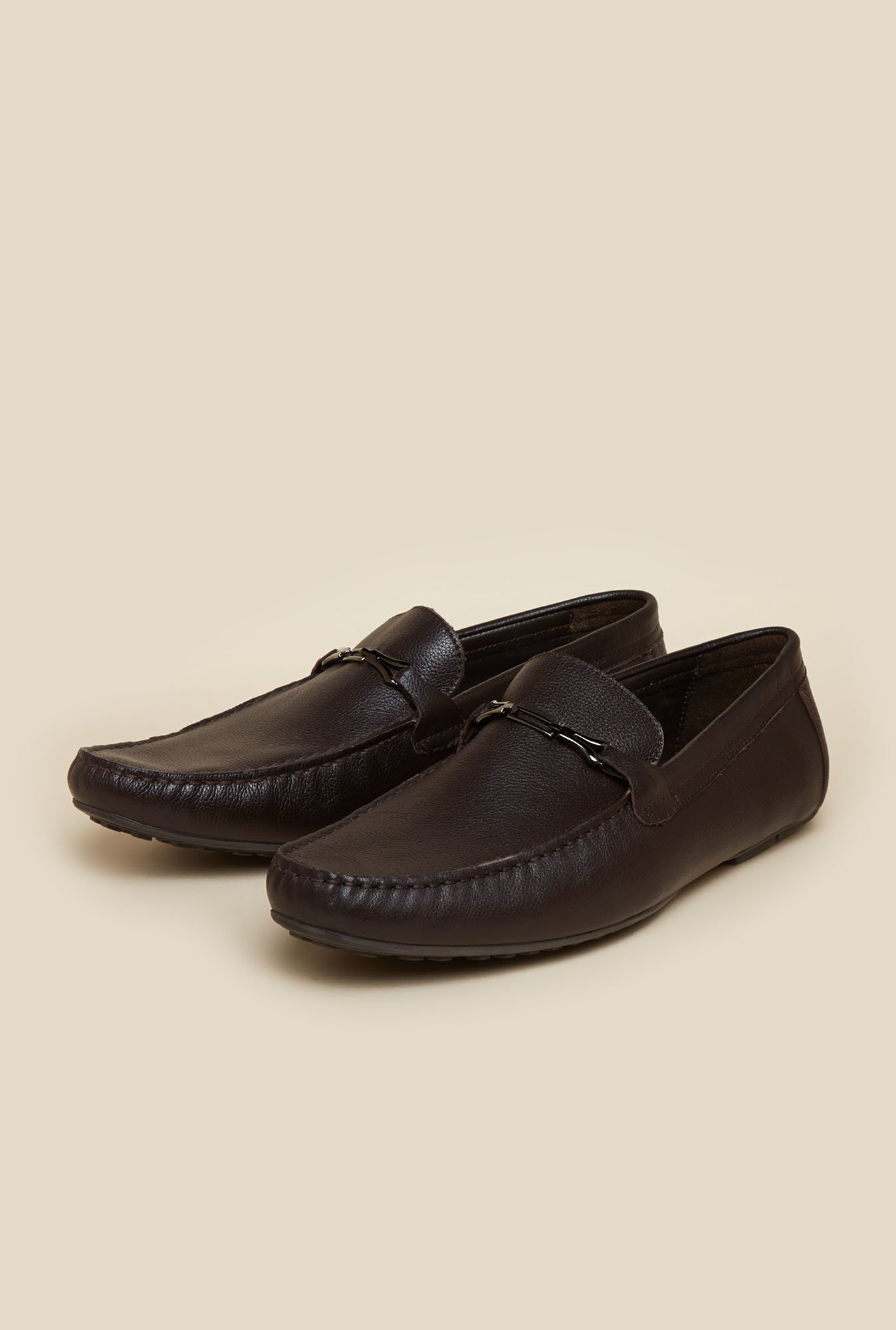 J. Fontini by Mochi Espresso Leather Formal Shoes
