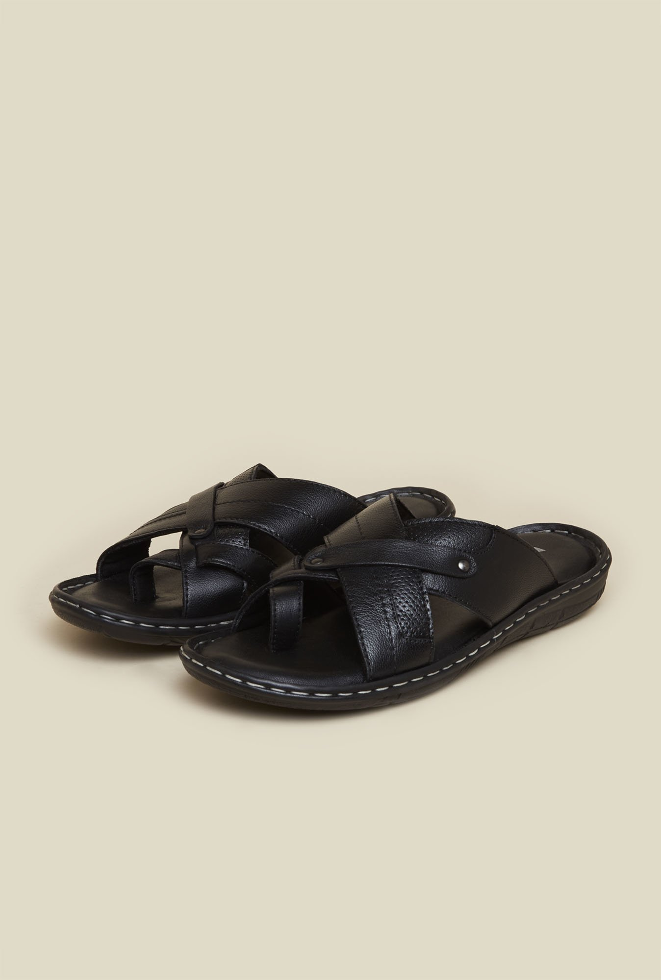 Mochi Black Cross Strap Leather Sandals
