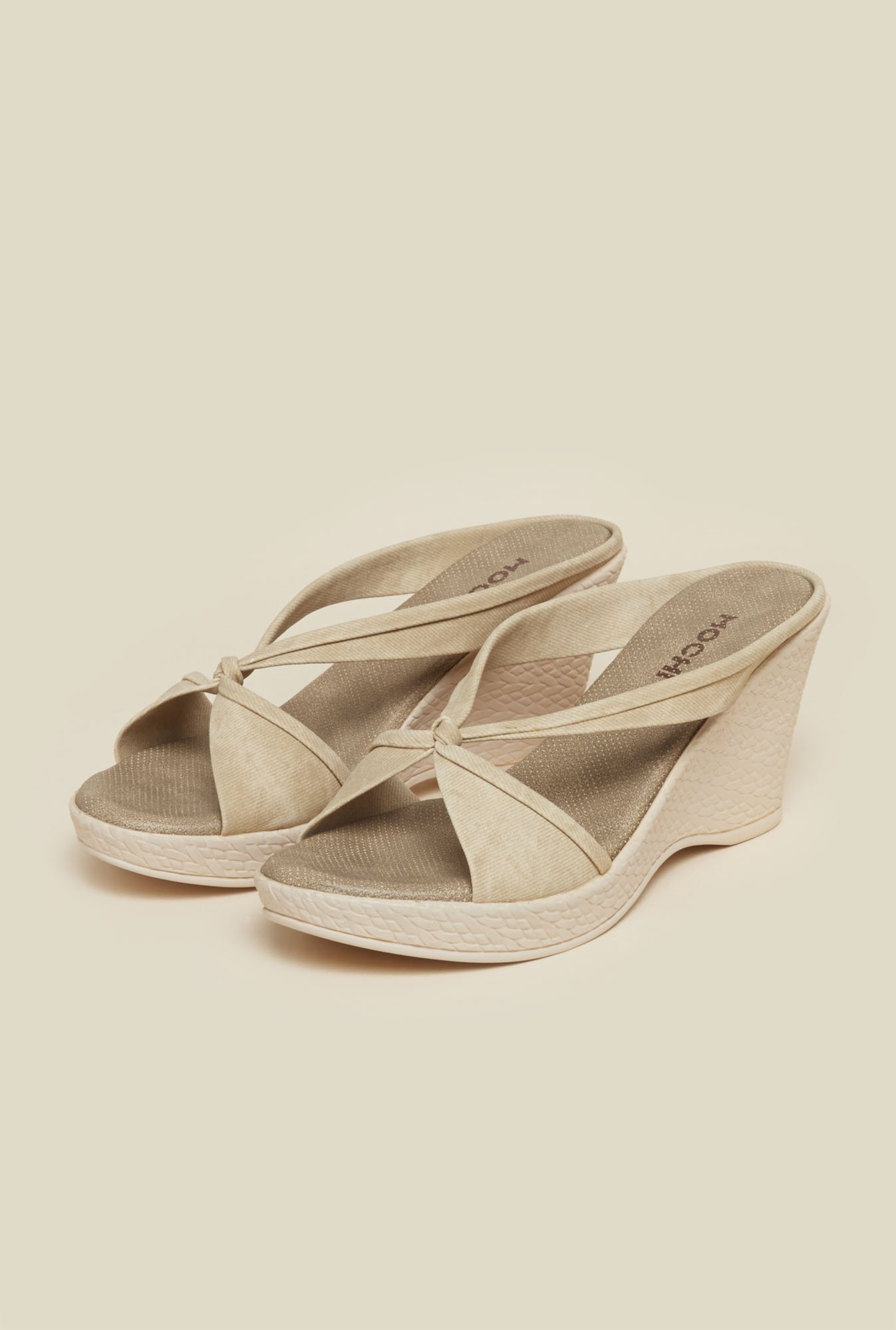 Mochi Beige Cross Strap Casual Wedges