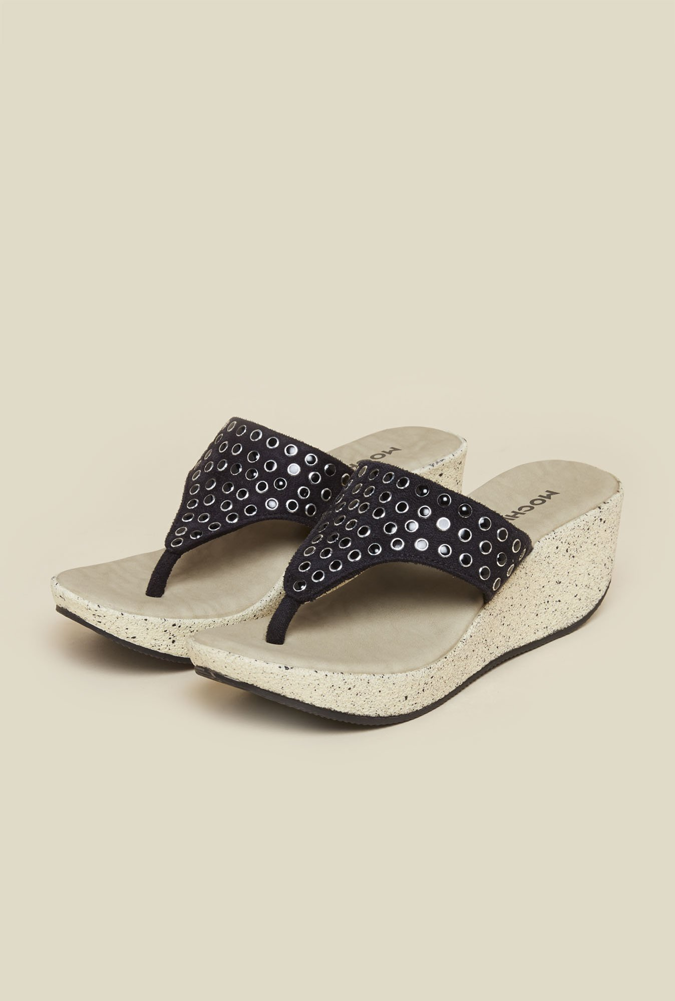 Mochi Black Stud Wedges