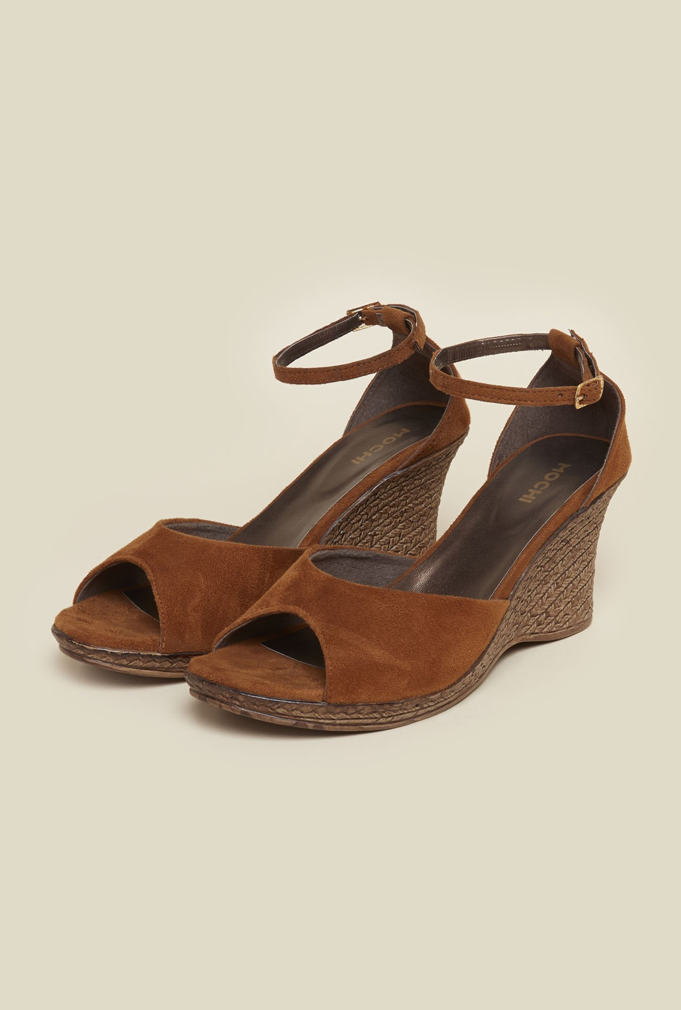 Mochi Tan Ankle Strap Wedges