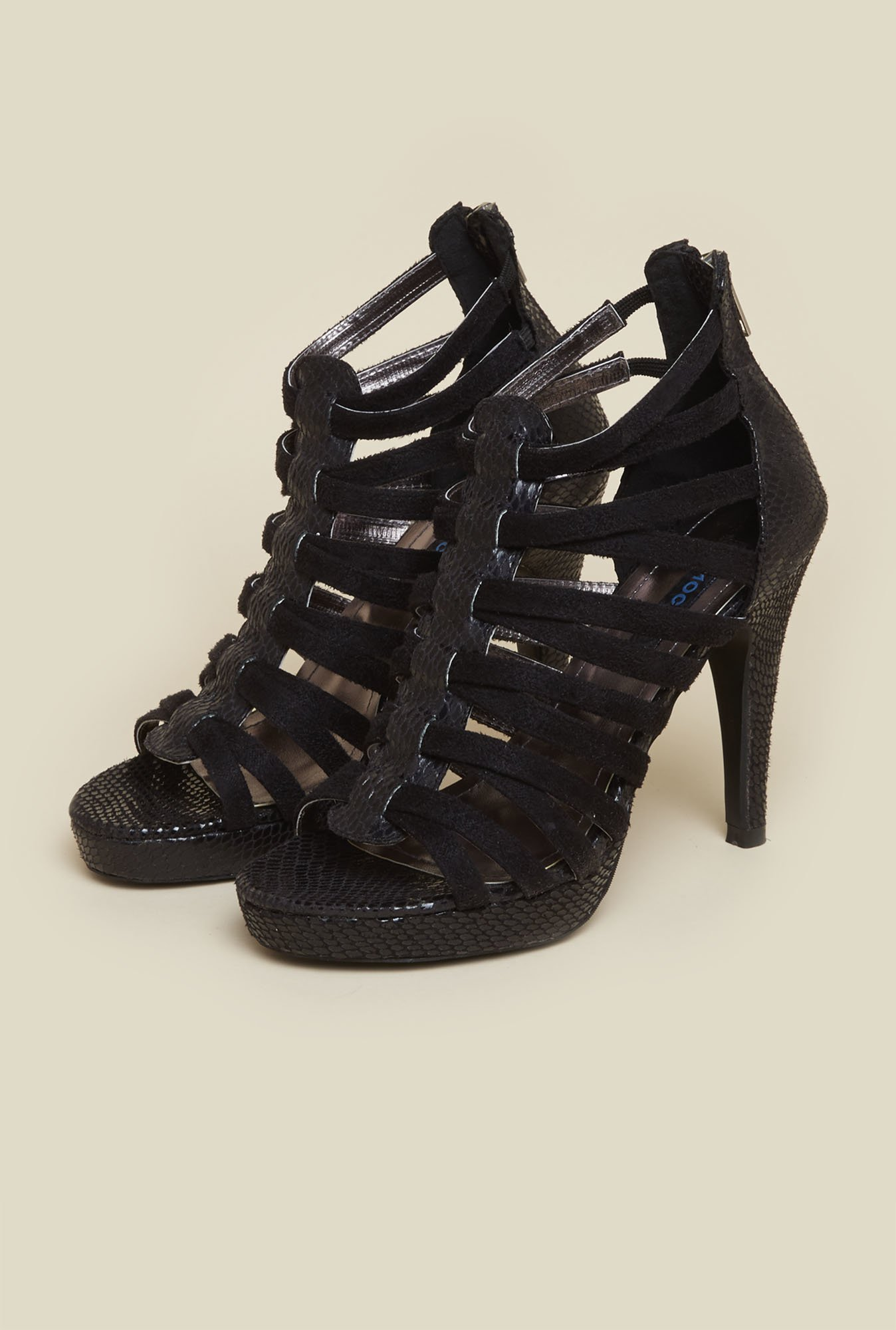Mochi Black Gladiator Stiletto Sandals