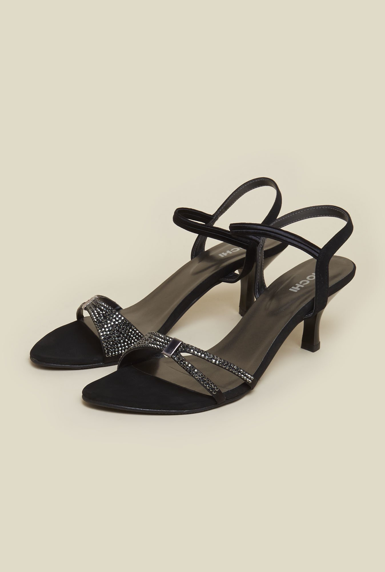Mochi Black Back Strap Stilettos