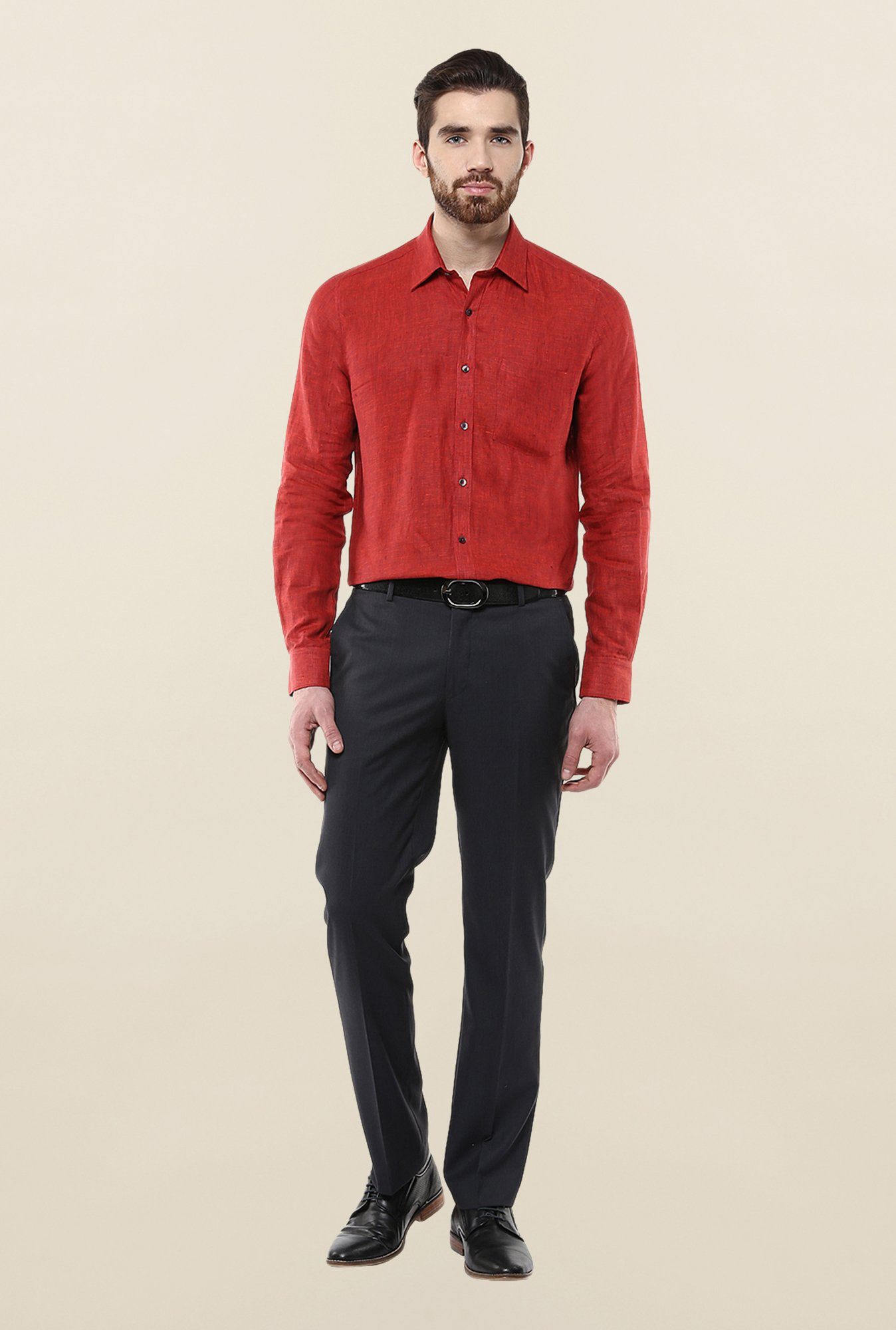 Turtle Red Solid Formal Shirt