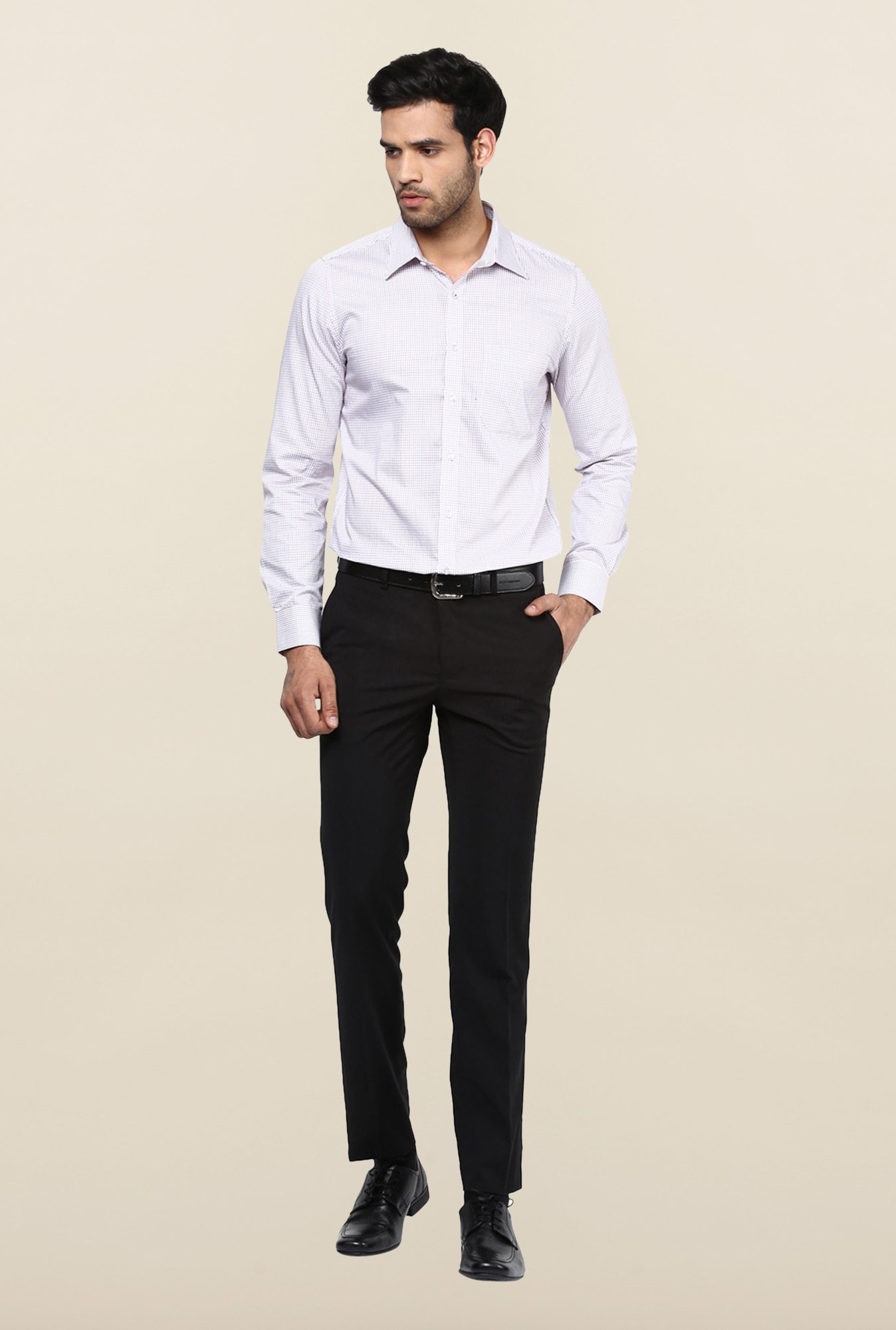 Turtle Black Solid Formal Trousers
