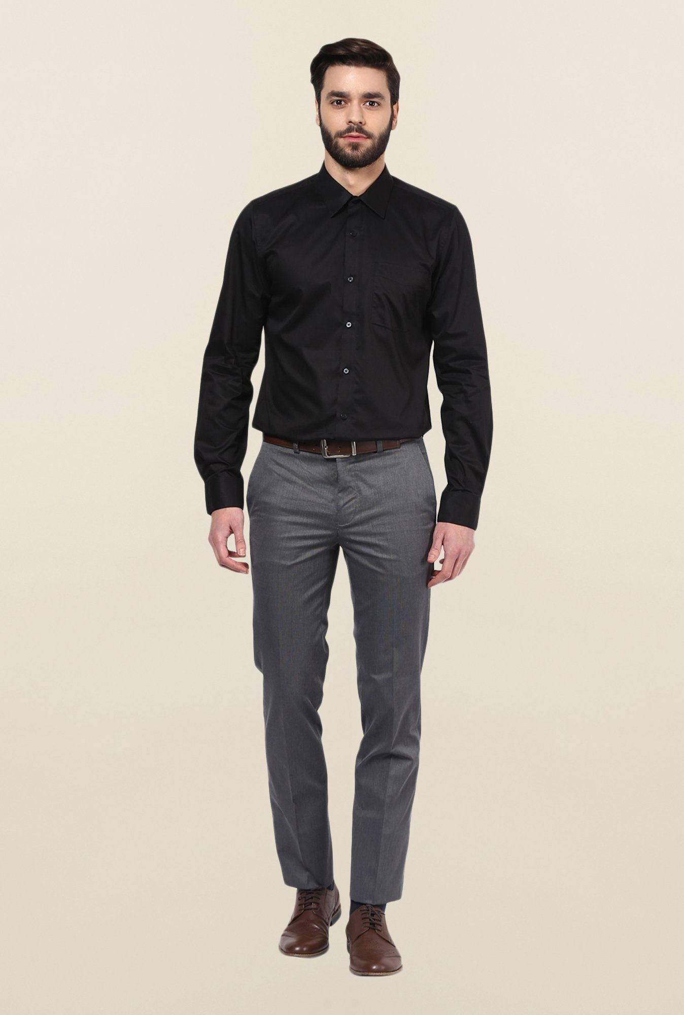 Turtle Black Solid Formal Shirt