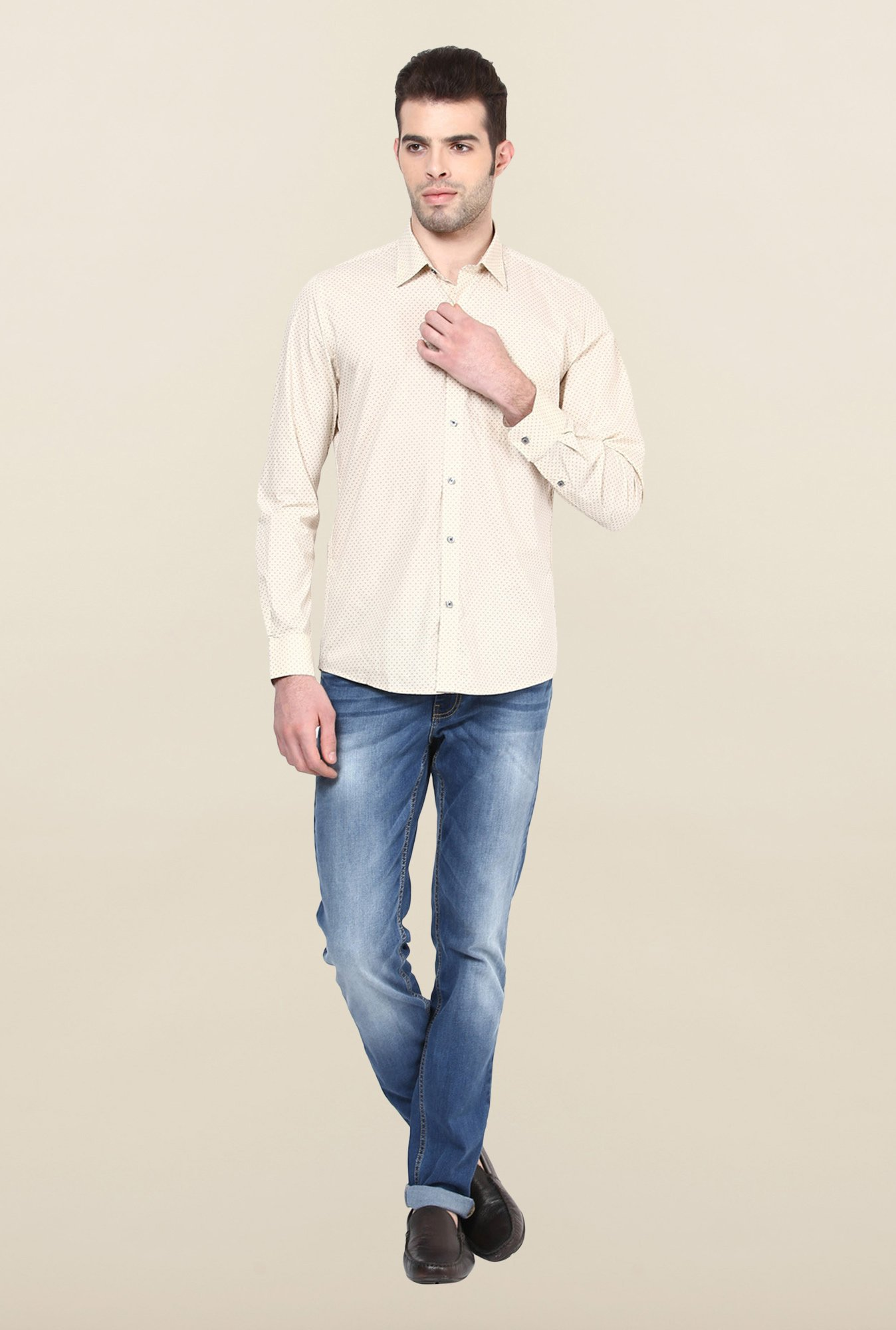 Turtle Beige Printed Formal Shirt
