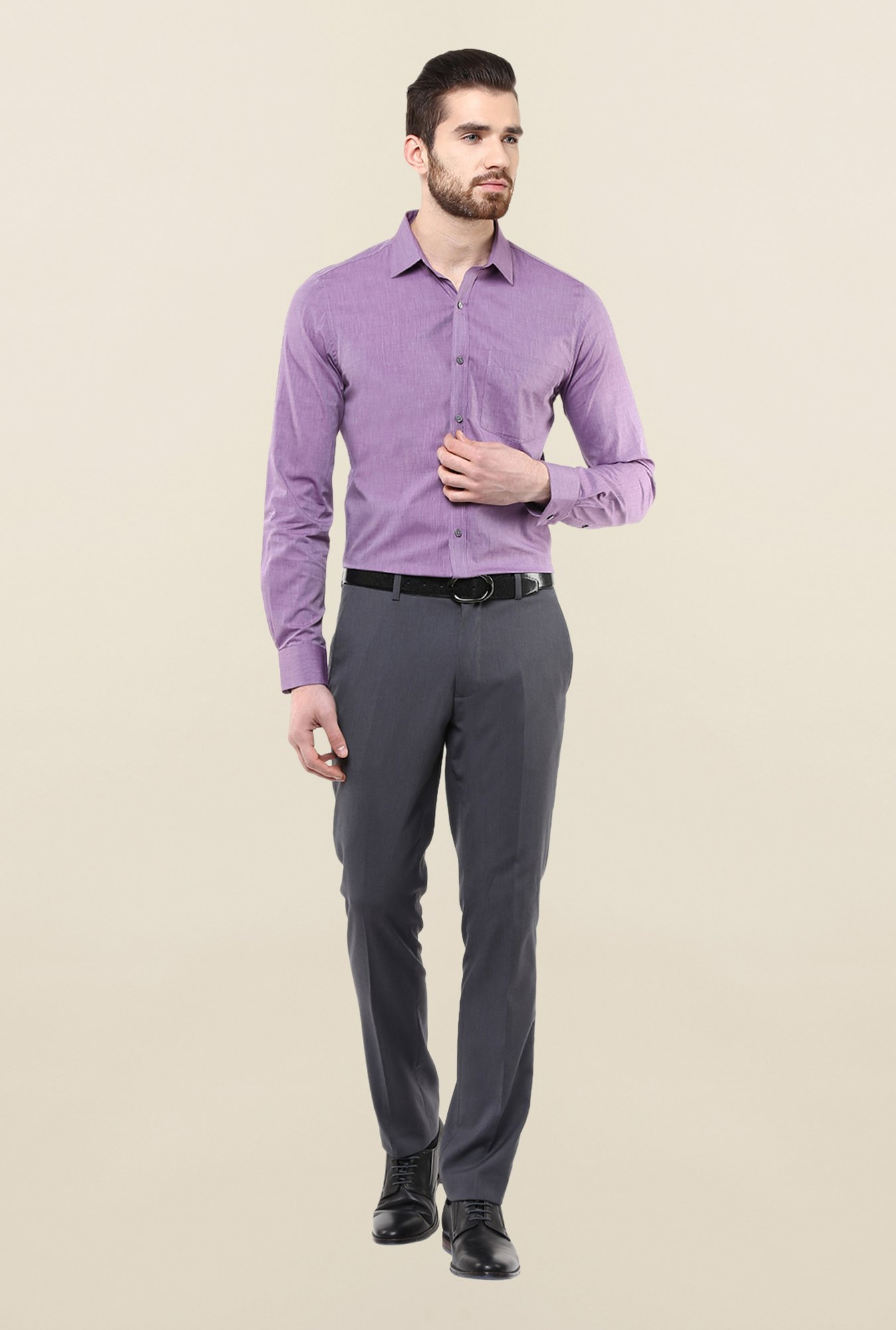 Turtle Purple Solid Formal Shirt