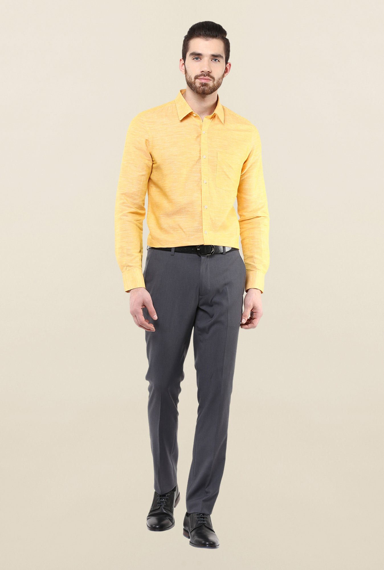 Turtle Yellow Solid Linen Formal Shirt