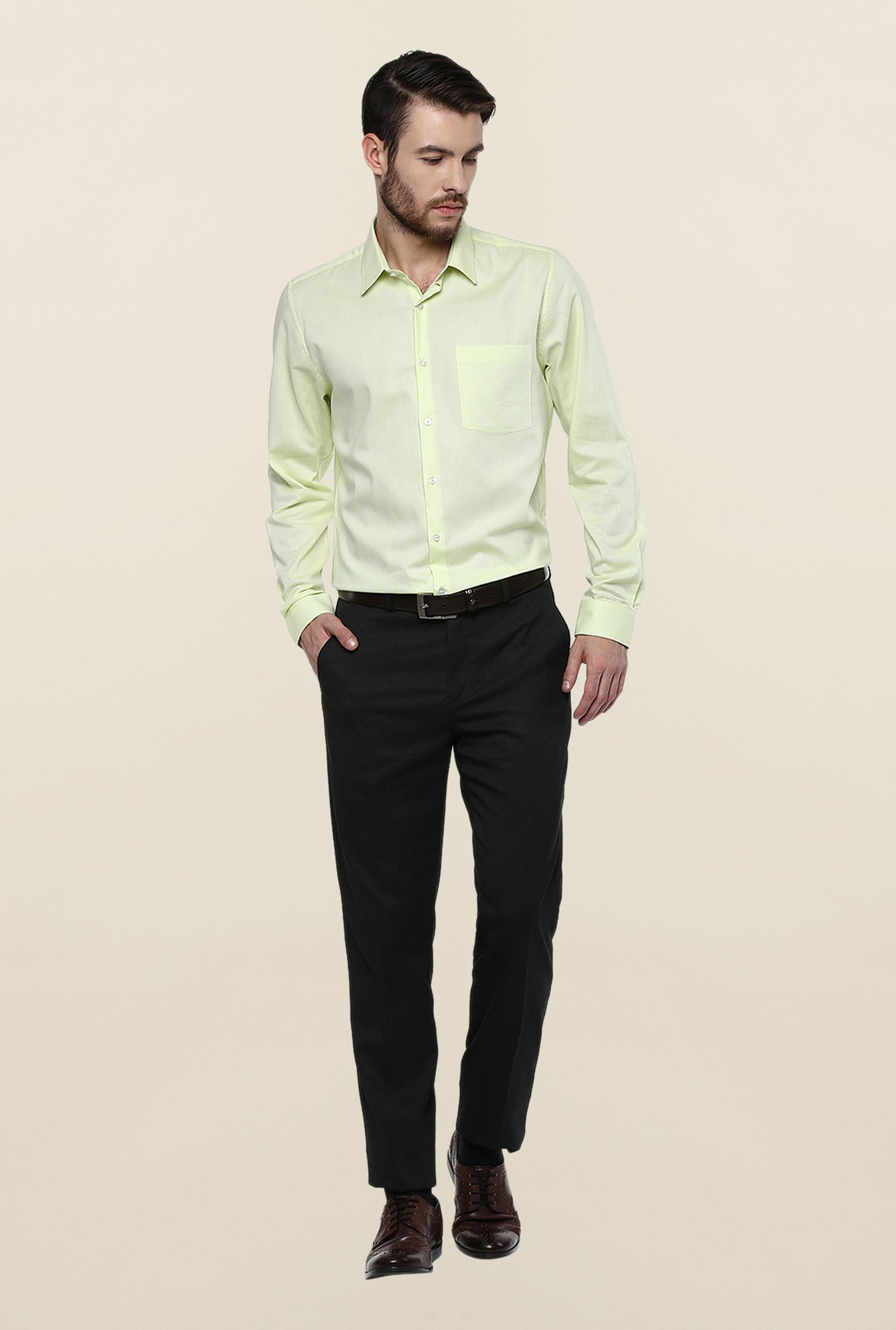 Turtle Lime Green Textured Formal Shirt