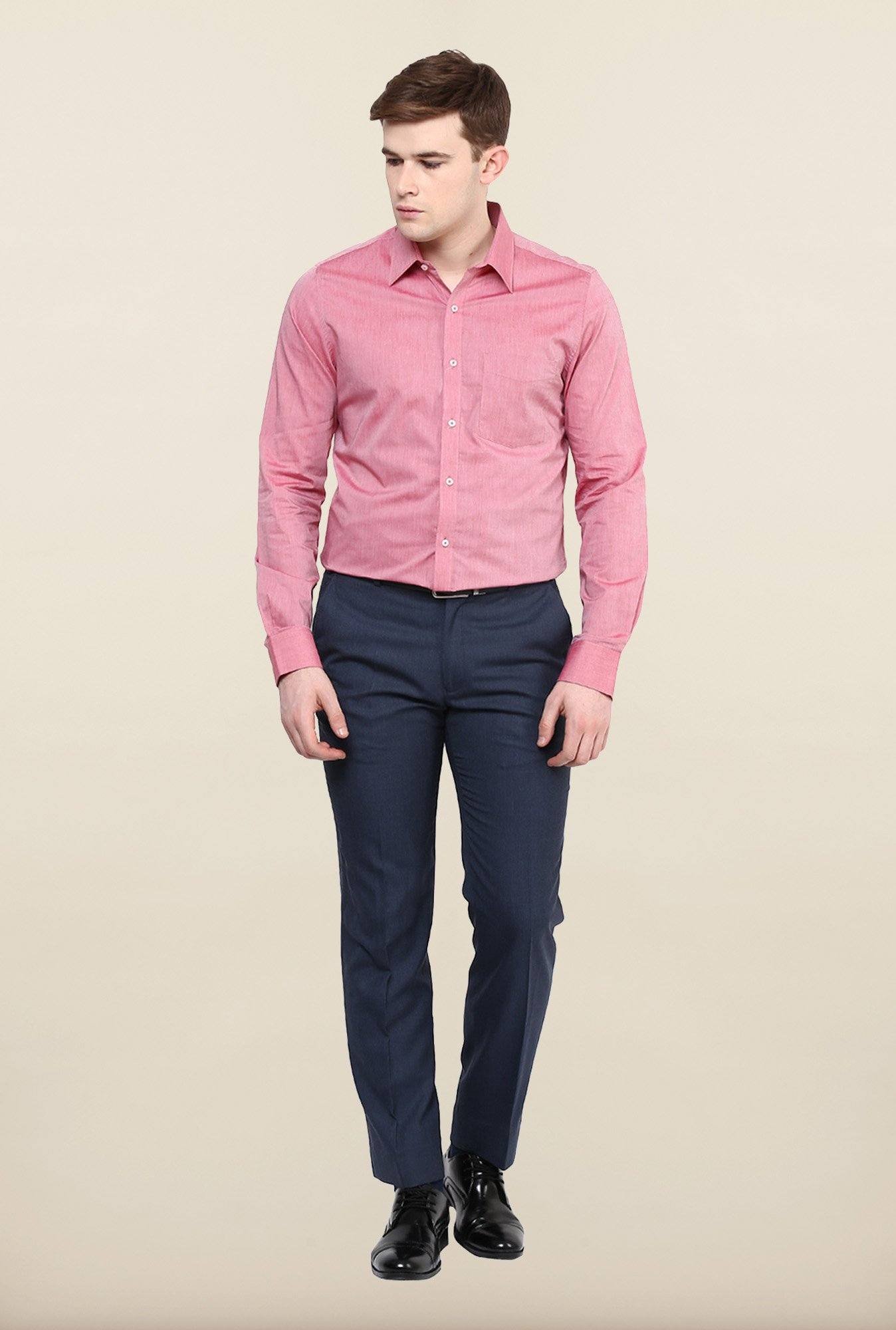 Turtle Pink Solid Formal Shirt