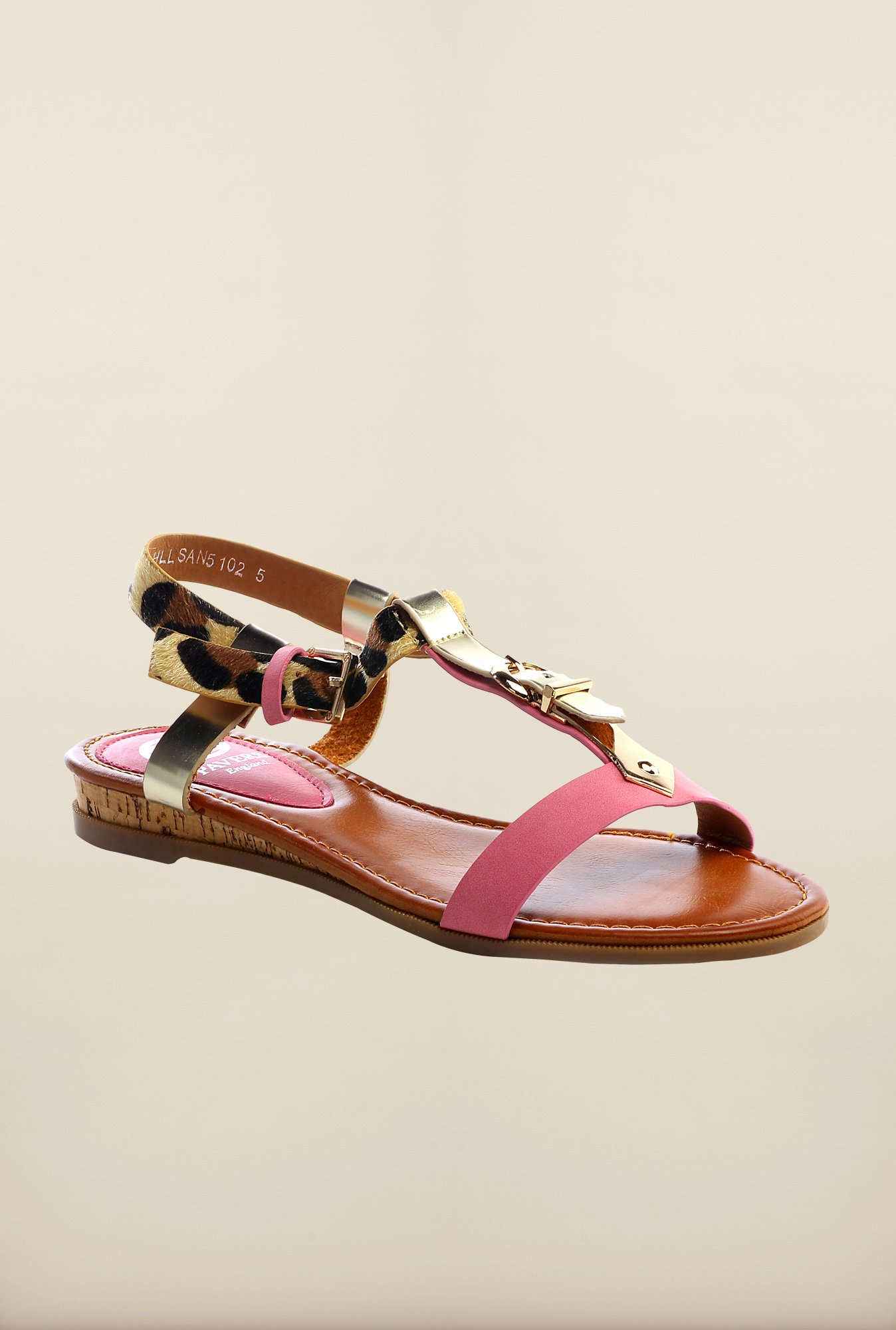 Pavers England Fuchsia & Tan Ankle Strap Sandals