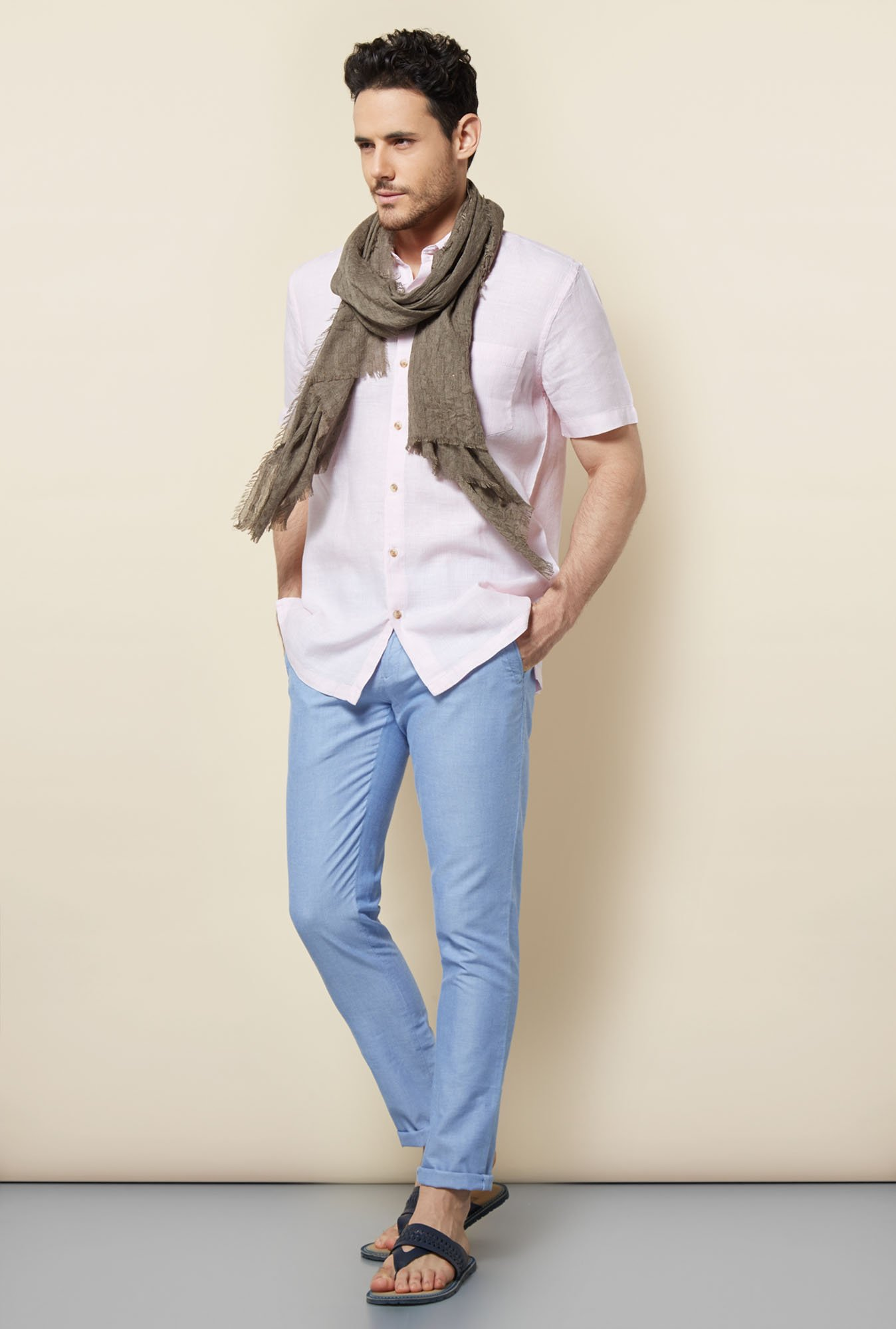 Cottonworld Pink Solid Casual Linen Shirt