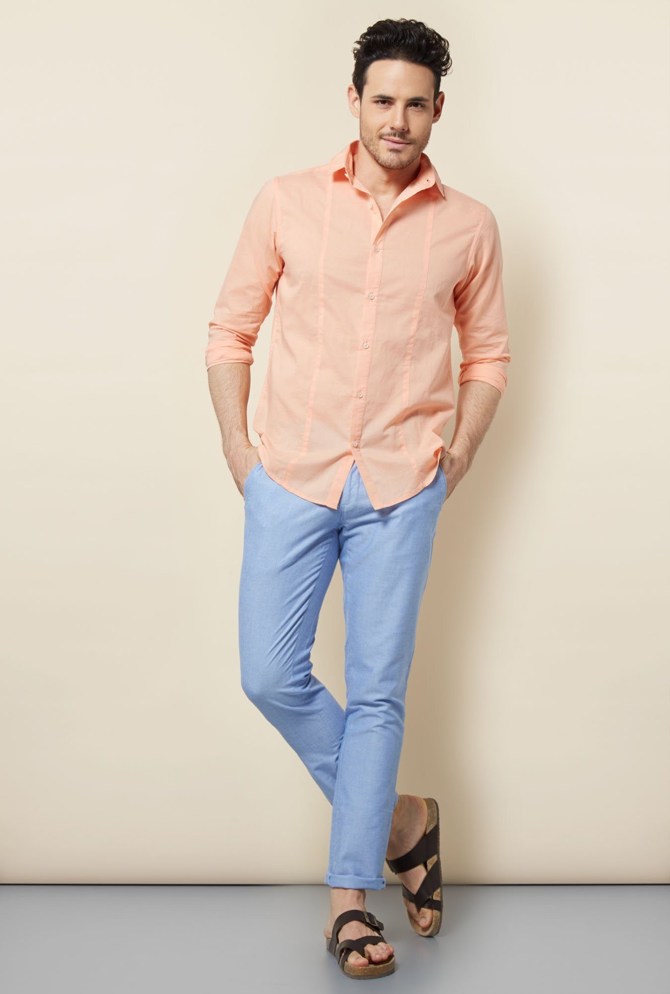 Cottonworld Peach Solid Casual Shirt