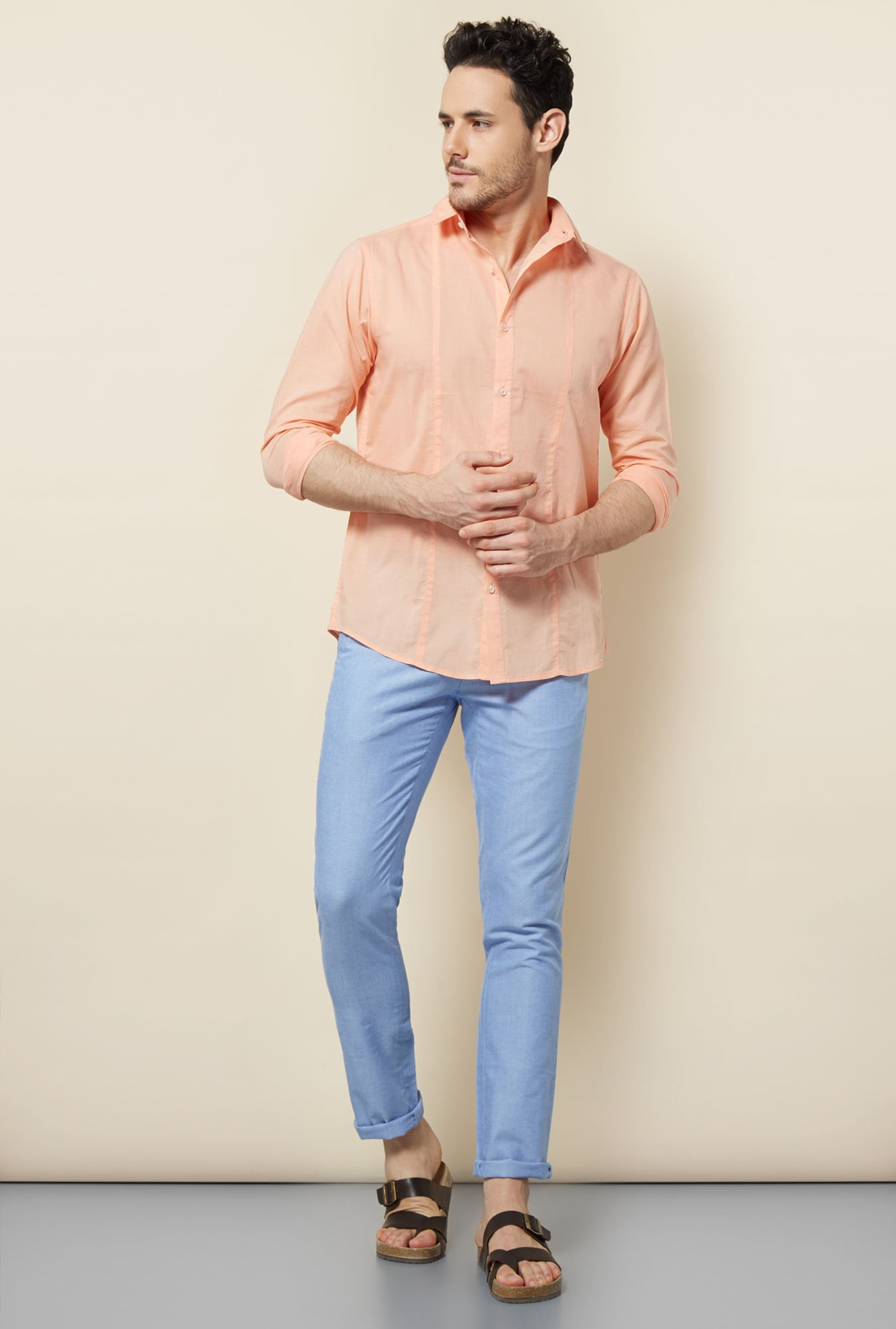 Cottonworld Blue Solid Chinos