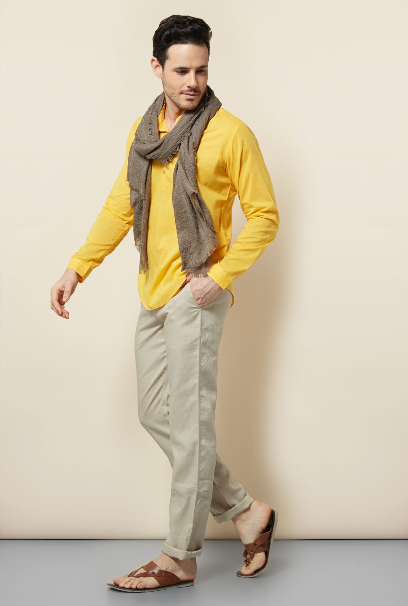 Cottonworld Yellow Solid Casual Shirt