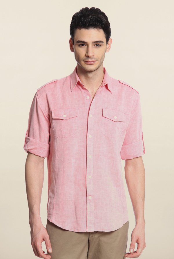 Cottonworld Pink Solid Casual Shirt
